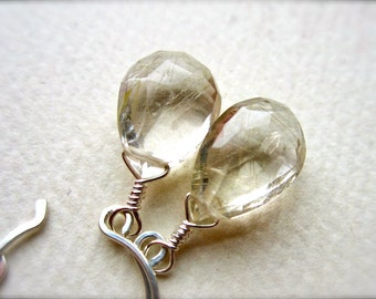 Golden Ticket Earrings - gold rutilated quartz earrings, organic gemstone, silver, sophisticated, bridal earrings