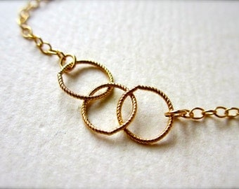 Trio Necklace - gold three circles necklace, simple classy everyday necklace, bridesmaid gift jewelry, N06/N07/N22
