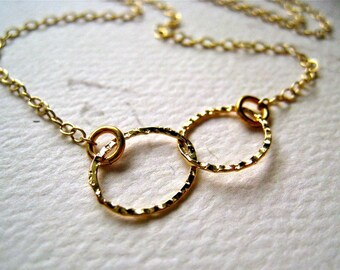 Infinity Necklace - gold circles infinity necklace, everyday infinity necklace, best friend, bridesmaid gift, N04G