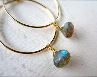 One Last Kiss Earrings - labradorite hoop earrings, gold hoops, silver hoops, gemstone hoops, simple hoop earrings, E02