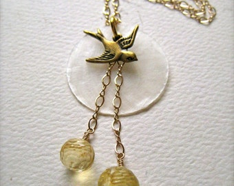 La Bella Luna Petite Necklace - bird and moon necklace, gold capiz shell necklace, citrine boho necklace, bohemian, N01