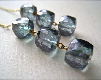 Rain Drops Earrings - blue quartz gemstone dangle earrings, blue and gold blue mystic quartz earrings, geometric cube