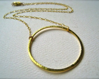 Eternity Necklace - gold circle necklace, elegant everyday circle necklace, simple, bridal, large gold eternity circle necklace