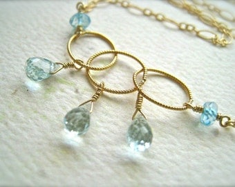Sprinkle Necklace - aquamarine necklace, gold circles necklace, blue topaz and aquamarine necklace, march birthstone