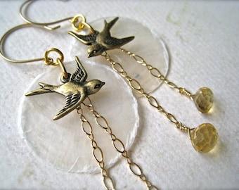 La Bella Luna Petite Earrings - bird and moon earrings, gold citrine earrings, capize shell earrings, orange gemstone, boho bird earrings