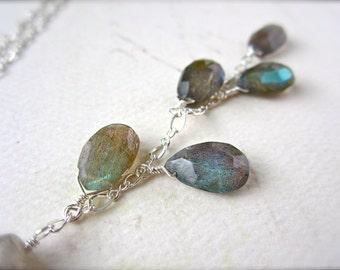 Clairvoyance Necklace - labradorite necklace, labradorite gemstone necklace, organic labradorite Y necklace