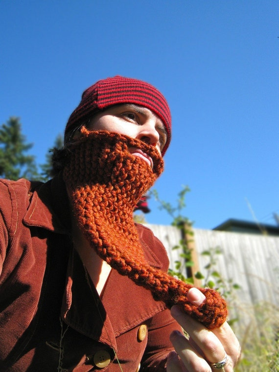 Gnome Knit Beard Face Neck Warmer Costume Disguise By