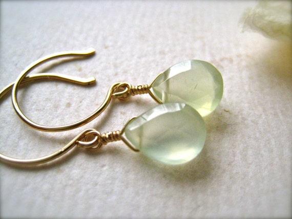 Greens Earrings - glowing green gemstone earrings, prehnite earrings, gold simple drop earrings, lime green earrings, DE06