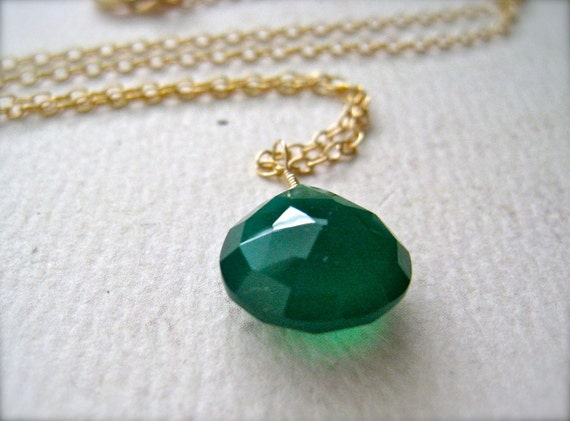 Emerald Isle Necklace - emerald green onyx necklace, gemstone solitaire necklace, gold and green necklace holiday jewelry