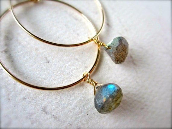 One Last Kiss Earrings - labradorite hoop earrings, gold hoops, silver hoops, gemstone hoops, simple hoop earrings, handmade jewelry, E02