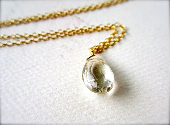 golden ticket petite necklace - handmade jewelry, gold rutilated quartz, gold necklace, bridal jewelry, solitaire