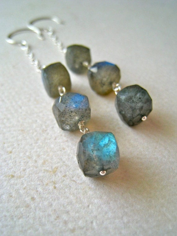 Astronomy Earrings - labradorite earrings, geometric cube labradorite dangle earrings, silver, organic, handmade jewelry