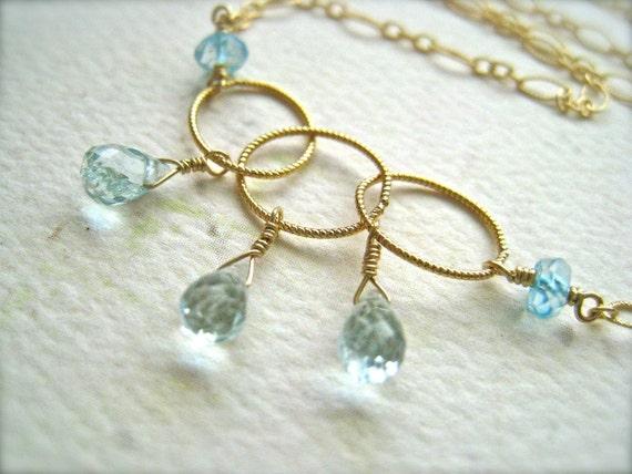Sprinkle Necklace - aquamarine necklace, gold circles necklace, blue topaz and aquamarine necklace, march birthstone, handmade jewelry