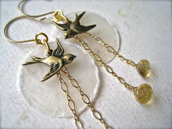 La Bella Luna Petite Earrings - bird and moon earrings, gold citrine earrings, capize shell earrings, orange gemstone, E01