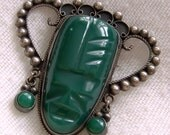 Mexico Aztecan Green Mask Pin Sterling Silver