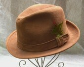 HOLIDAY SALE Vintage Mens Hat 1950s Fedora Camel Suede Knox