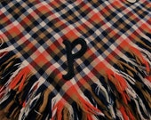 1890s Antique Wool Plaid Shawl Black P Monogram Applique