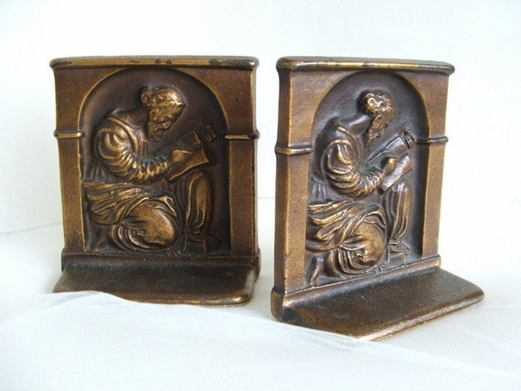1920s Bookends The Scholar  DAL  Bronze Tone Cast Iron