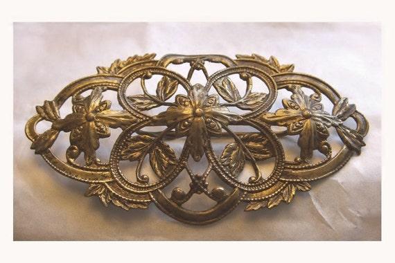Antique Brooch Art Nouveau Sash Pin Flowing Lattice Scroll Oval