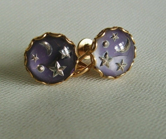 Moon & Star Lucite Vintage Button Earrings Purple Silver