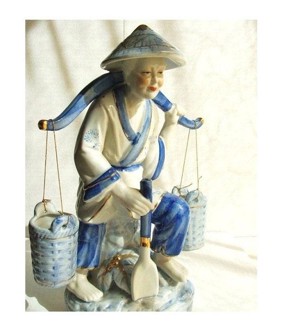 Reserved For alwaysbuilding  Vintage Oriental Figurine Woman Water Carrier w. Yoke & 2 Buckets Porcelain Blue