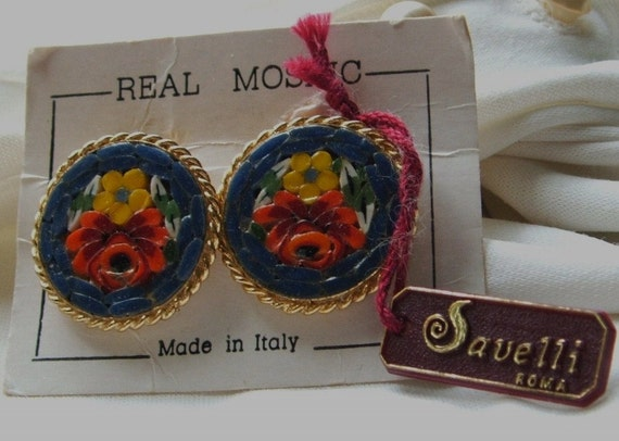 Vintage Savelli Rome Italy Real Mosaic Earrings clip on dark blue & flowers original card with tag
