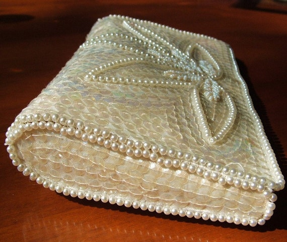 Vintage 1960s Clutch Bag White Sequins & Beaded Pearl Formal Evening