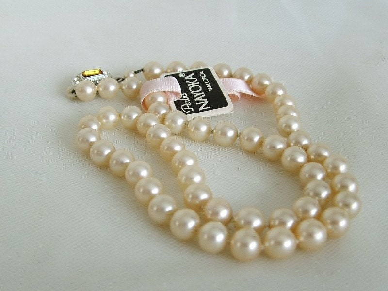 simulated pearl necklace 17 in  nayoka mallorca 1960s