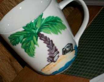 palm tree ceramic mug hand painted personalize me