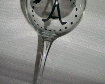 Initial bow wine glass hand painted pick your inital and colors  customizable personalizable