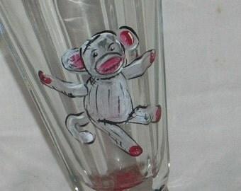 sock monkey hand painted retro ice cream sundae glass milk shake glass