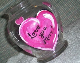 Love you More hot pink heart vase conversation hearts valentine decor