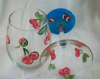 Cherries stemless wine glass tumbler hand painted- eco friendly