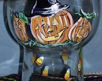 SAle Was 25 now 20 Halloween jack 'o lantern Hurricane candle holder hand painted black cat pumpkin candy corn witch hat
