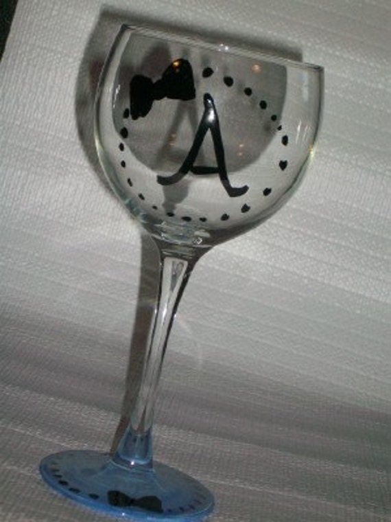 Initial Bow Wine Glass Hand Painted Pick Your Inital And