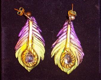 Crystal Peacock Feather Earrings