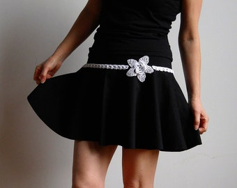 Mini Skirt with Hand Crochet Lace - black - FREE SHIPPING