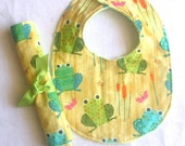 Clearance Bib and Burp Cloth Set, Baby Shower Gift, Baby Bib , Burp Cloth, Baby Bib  Creatures and Critters Frog, Boutique gift set