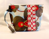 Cosmetic Bag Wristlet,  zippered pouch Patchwork Morning Glory and Dots Cherry - Amy Butler Fabric