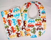 Sale! Bib and Burp Cloth Set, Baby Shower Gift, Baby Bib , Burp Cloth, Baby Bib Cars, Baby Boy Gift Set Clearance