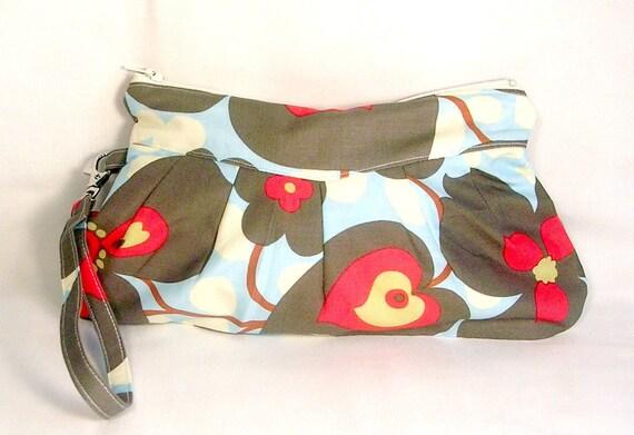 Wristlet Wallet / Zipper Clutch Pouch Morning Glory Sky  Amy Butler Fabric