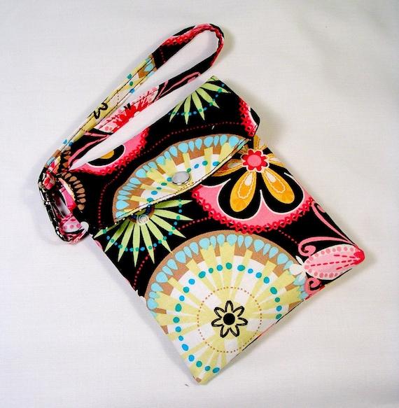 Cell phone holder / wristlet purse / camera / ipod /blackberry/ wallet Carnival Bloom