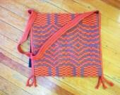 Vintage Hand Woven Wool Shoulder Bag Purse Handbag Grey Red Orange Beatnik Hippie
