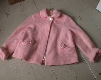 1940s 1950s Childs Girls Swing Coat Jacket Pink Fuzzy MOP Buttons size medium to large