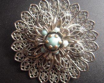 Vintage Round Silver Filigree Flower  Brooch Pin with Turquoise Stones