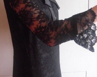 1960s  Lace Overlay Little Black Dress Mod Shift Sexy Kitten Bow Sm Med