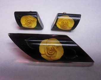 Vintage 1960s Lucite Demi Parure Set Everlasting Yellow Rose of Texas Brooch and Earrings