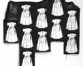 empty dresses - block print collage with thread crochet boarder