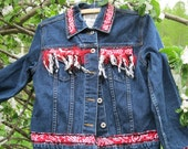 Upcycled Cowgirl Blue Denim Ladies jacket, size small,Country Western recyled . Rodeo recycled clothing ,red, white fringe,back to school