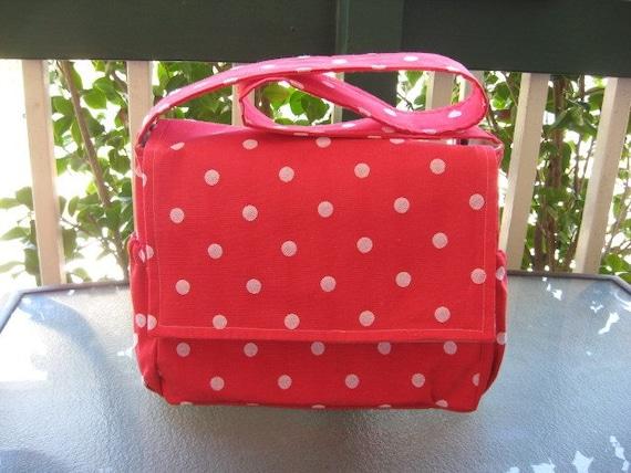 """Diaper Bag- """"Annabelle Bag"""" - In Red Polka Dot"""